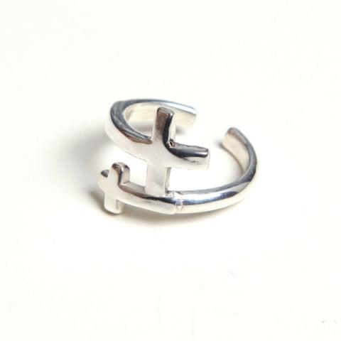 anillo cruz doble