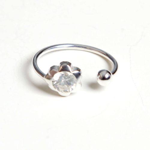 anillo plata flor