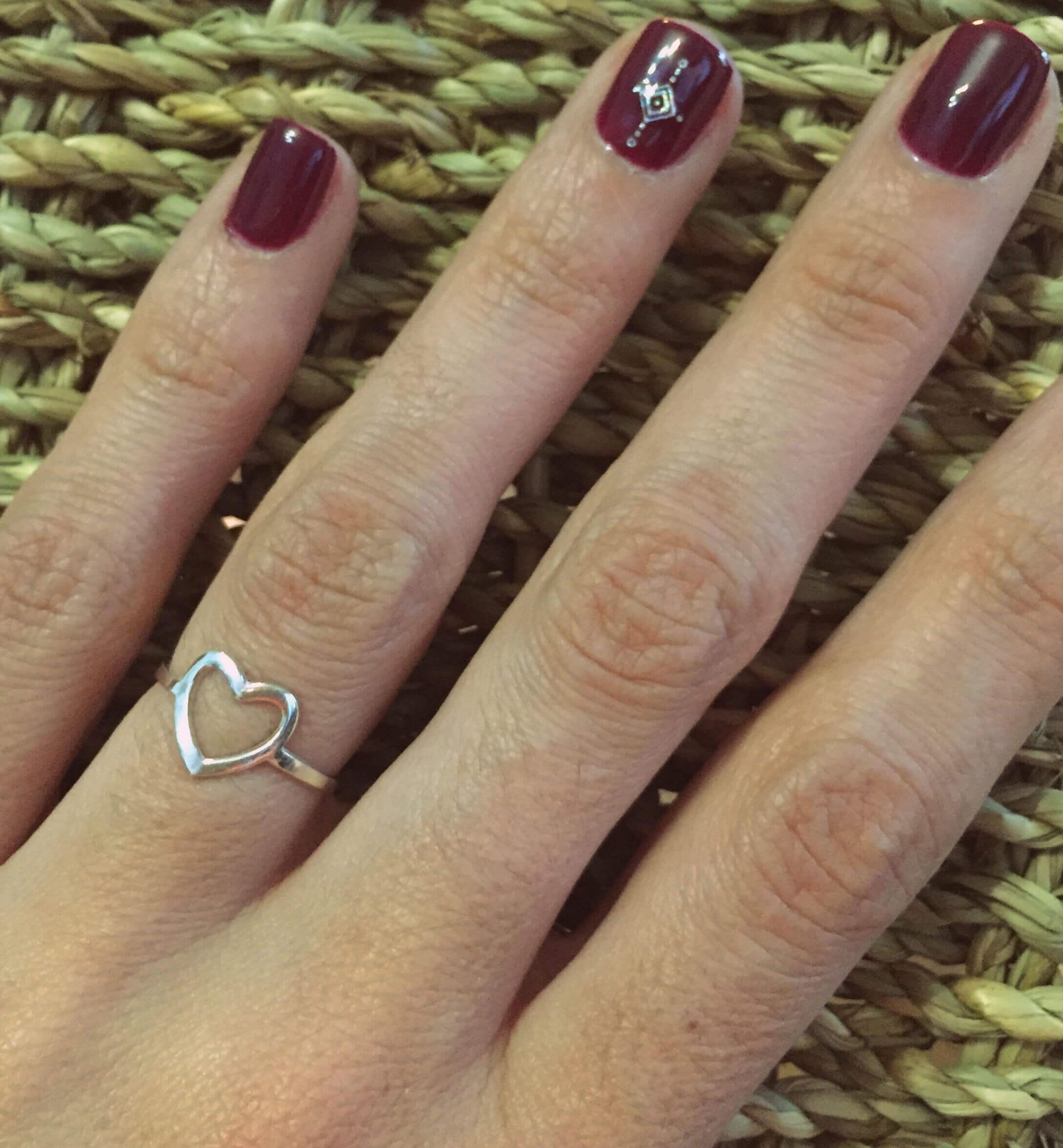 anillo corazon plata