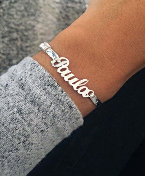 pulsera nombre plata
