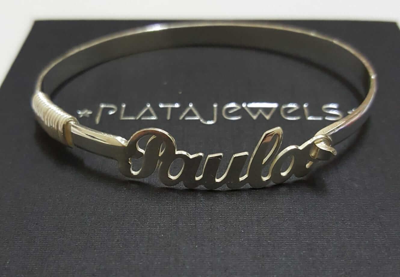 b20f4f00b4cd Pulsera Nombre Rigida - Platajewels