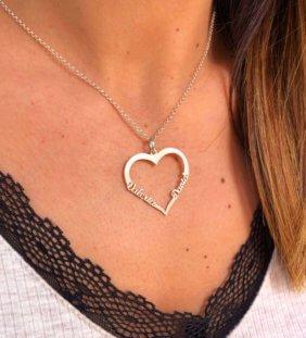 collar corazon con nombres