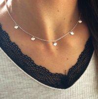 collar corazones plata